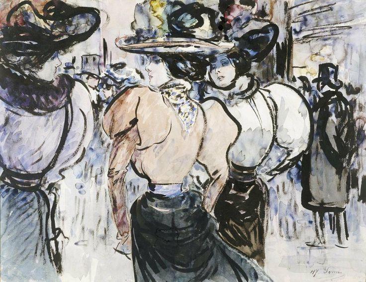 Henry Somm: Elégantes dans la Rue Giclee. 1895