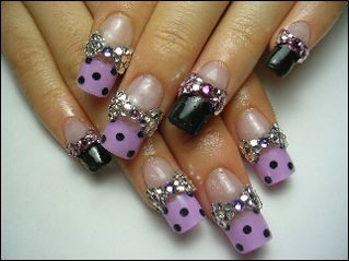 OTT purple bling nail art, fingernails, funky manicures. sorry, i have no idea where i got this from, if you know or if u own it please post the details.