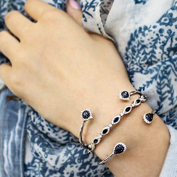 Gabriel & Co. - Fall season is here and we are pairing scarves with these unique sapphire bracelets.