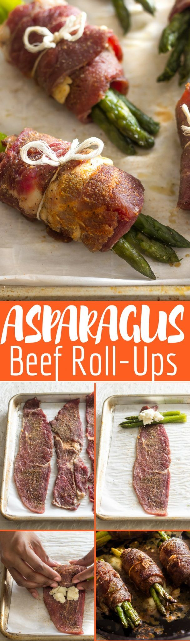 Beef roll-ups and fresh mozzarella and asparagus.