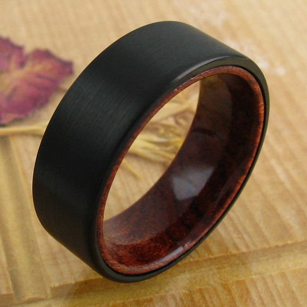 Very fashion forward and beautiful flat band ring with a black tungsten band over a genuine wood inner band. A marvelous ring! Wholesale Tungsten Rings   Wedding Bands. www.925express.com
