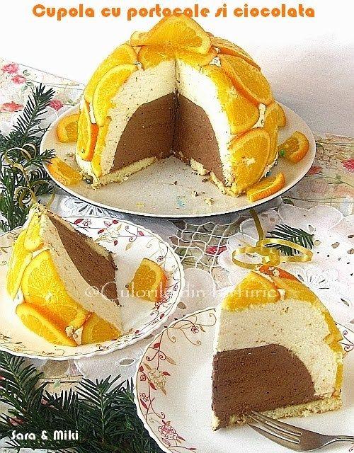 Cupola cu portocale si ciocolata, un tort racoritor, cremos, ciocolatos, cu izul de portocale care e specific acestei perioade de iarna. Altfel spus… un rasfat deCraciun!