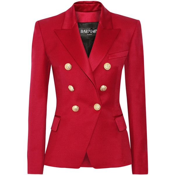 Balmain Double-breasted wool-twill blazer ($2,385) ❤ liked on Polyvore featuring outerwear, jackets, blazers, coats, balmain, red, double breasted blazer, red wool blazer, red blazer e woolen jacket