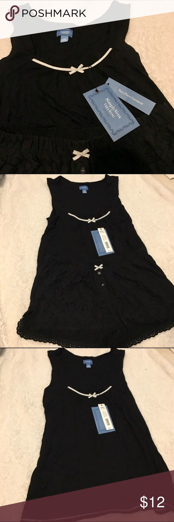 *NWT* Simply Vera PJ Set Simply Vera Vera Wang PJ Set: black cotton tank and matching black lace shorts, both with silver bow detail. Simply Vera Vera Wang Intimates & Sleepwear Pajamas