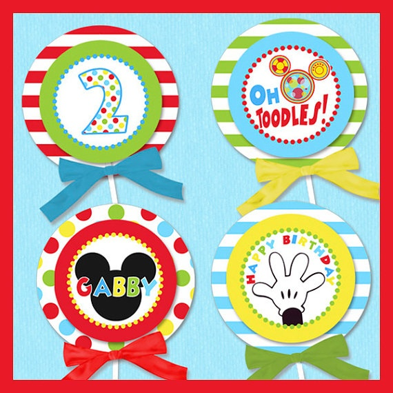 Mickey Mouse Inspired Printable Cupcake Toppers by shindigparties, $8.00