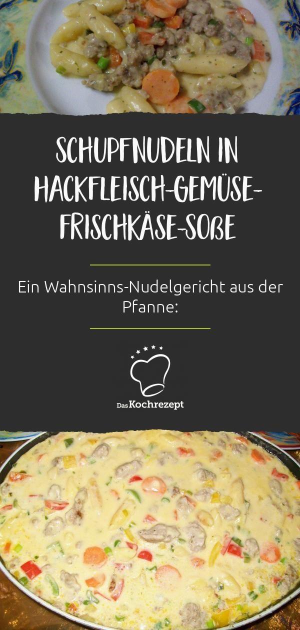Schupfnudeln in Hackfleisch-Gemüse-Frischkäse-Sauce