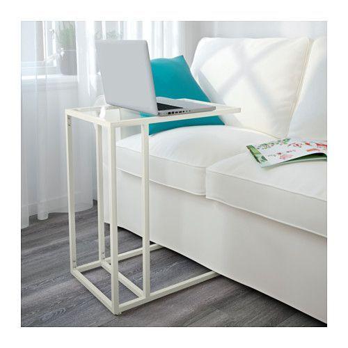 Fürs Schlafzimmer? Arbeiten am Bett... VITTSJÖ Laptopgestell, weiß, Glas weiß/Glas 35x65 cm