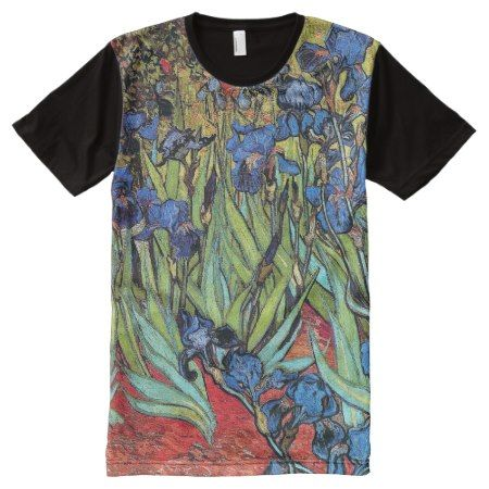 Van Gogh Irises Impressionism Classic Art Garden All-Over-Print T-Shirt - tap, personalize, buy right now!