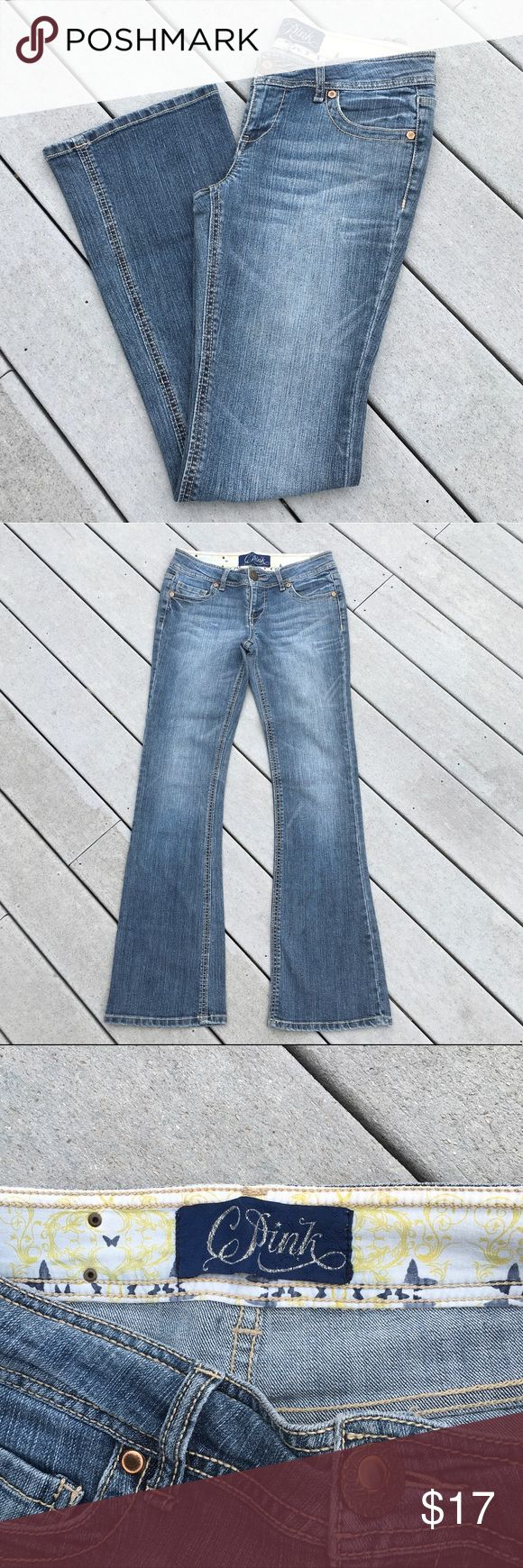 """🔴 Celebrity Pink Bootcut Jeans C Pink Jeans: Very good condition, although, few small gold embellishments missing from back pockets. No rips, tears or stains. 86% cotton, 13% polyester, 1% spandex. Front rise: 8.25"""", hip to hip: 14.75"""", inseam: 32"""". *Note: these are not VS PINK brand. Celebrity Pink Jeans Boot Cut"""