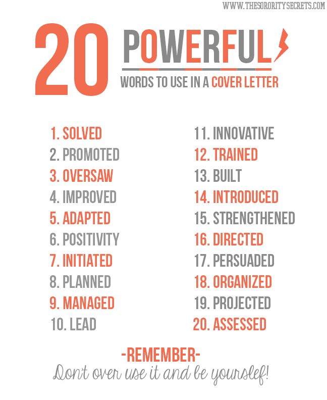 20 Powerful Words to Use in a Resume NOW- just go find your job at - copy and paste cover letter