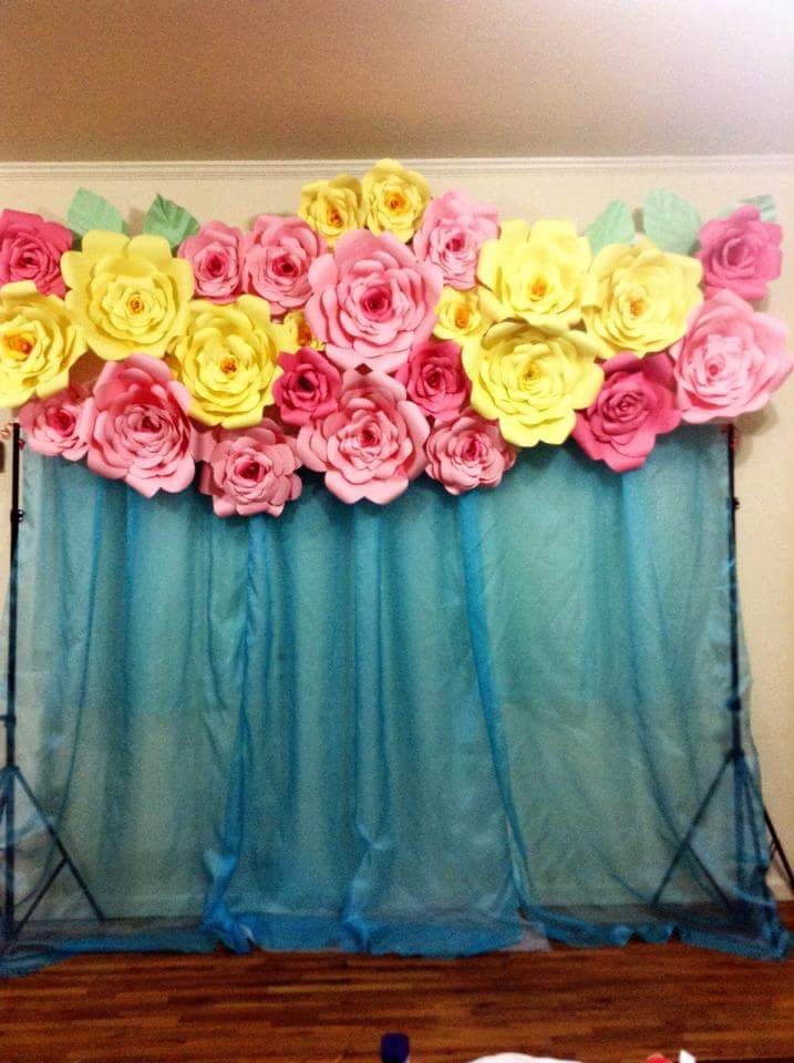 pink and yellow roses Paper flower backdrop wall | My ...
