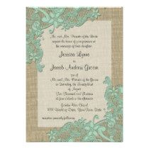 Mint green lace and burlap style wedding invitations ... more styles on the page, too. | Vintage Country Lace Design Mint Green Personalized Announcement