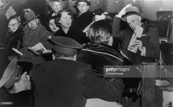 Fans attack NHL (National Hockey League) president Clarence Campbell (1905 - 1984, right) during a game at the Montreal Forum, Montreal, Canada, 17th March 1955. The disorder, over Campbell's suspension of Montreal Canadiens ice hockey player Maurice 'Rocket' Richard, escalated into a full-scale riot and spread to surrounding streets.