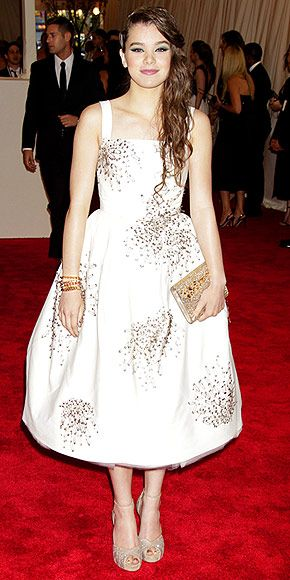 Hailee Steinfeld in embroidered Donna Karan Atelier gown at the Met Gala