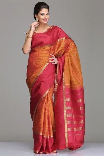 Orange Kanjivaram Silk Saree With Maroon And Half-Fine Gold Zari Striped Border…