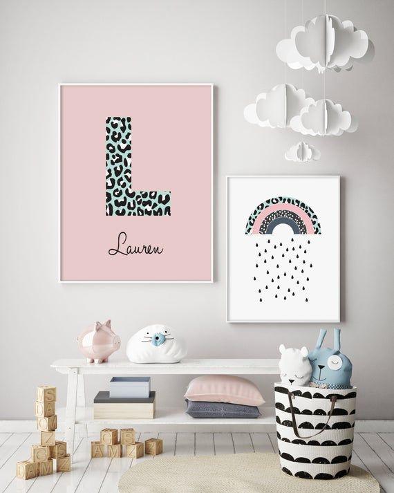 Leopard Rainbow Personalised Nursery Print Children S Etsy Personalized Nursery Print Baby Nursery Decor Personalized Nursery