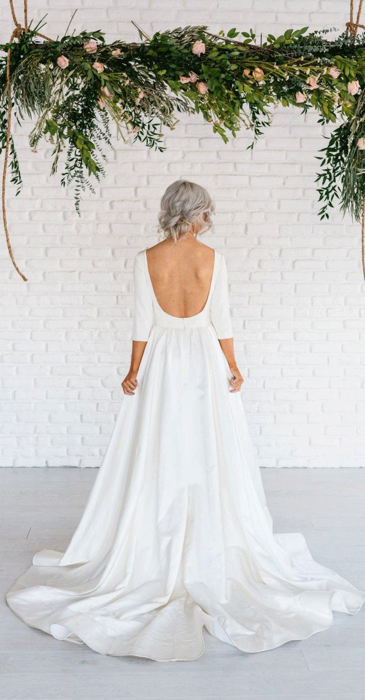 US$168.72-Elegant Simple Long Sleeve A-Line Satin Wedding Dress With Open Back.   http://www.junebridals.com/modern-simple-long-sleeve-a-line-satin-wedding-dress-with-open-back-pET_711539.html.   Free Custom-made & Free Shipping! Shop lace wedding dress, strapless wedding dress, backless wedding dress, with sleeves, mermaid wedding dress, plus size wedding dress, We have great 2016 best Wedding Dresses on sale at #JuneBridal.com today!