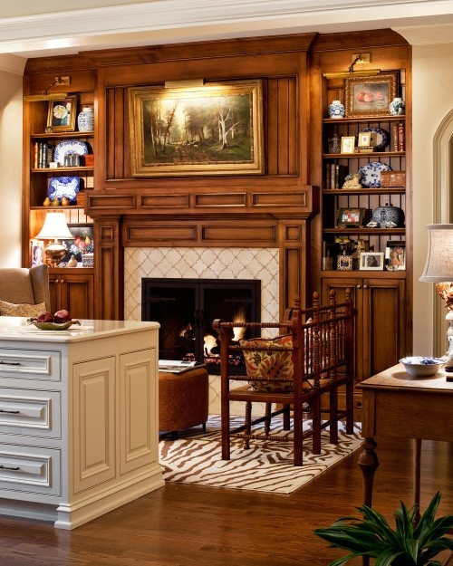 Picture lights used on bookcases