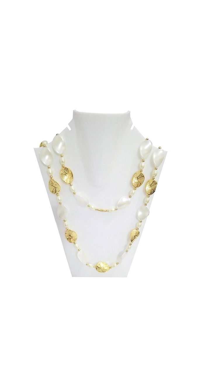 Traditional Handmade Long Golden White Stone Necklace