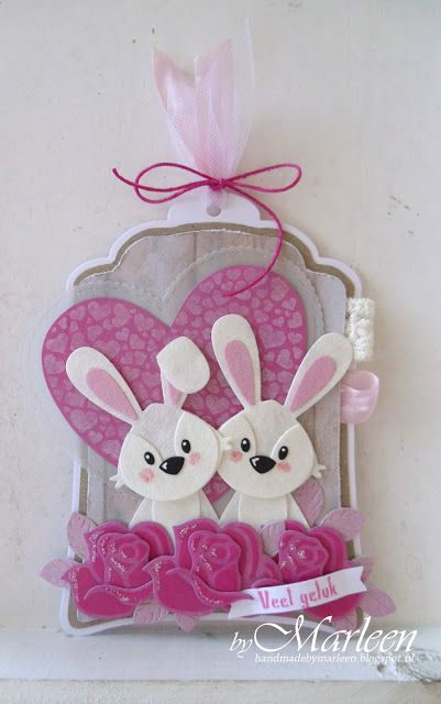 Handmade gift label by DT member Marleen with Craftables  Hearts Basic Shape (CR1351), Label XL & Labels XS (CR1353), Creatables Build-a-Rose (LR0398) and Collectables  Bunny (COL1354) from Marianne Design