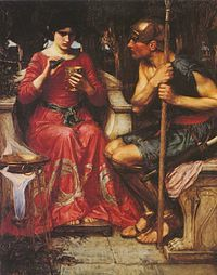 Jason and Medea is an oil painting in the Pre-Raphaelite style created by John William Waterhouse in 1907. The painting depicts the Cholcian princess, Medea, preparing a magic potion for Jason to enable him to complete the tasks set for him by her father, Aeëtes. Medeas determined facial expression shows a characterization consistent with that of Greek literature, particularly, Euripides tragedy of Medea (play). The painting is thematically and visually similar to The Magic Circle…