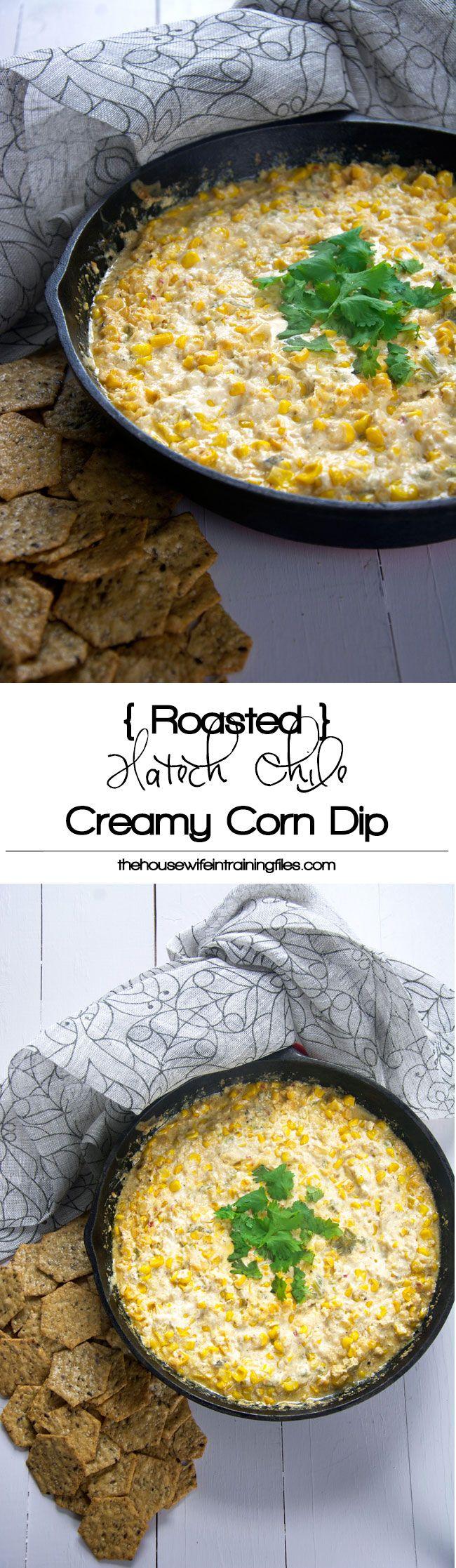 Roasted Hatch Chile Creamy Corn Dip | Recipe | Yogurt, Cream cheeses ...