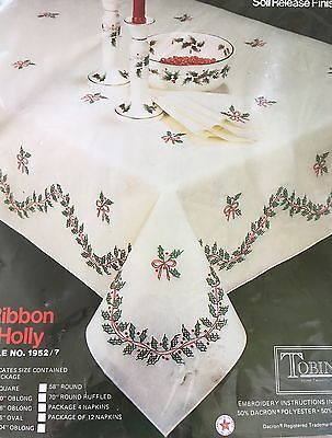 """﹩24.95. Vtg TOBIN RIBBON HOLLY STAMPED EMBROIDERY 50"""" X 70"""" OBLONG TABLECLOTH + FLOSS"""