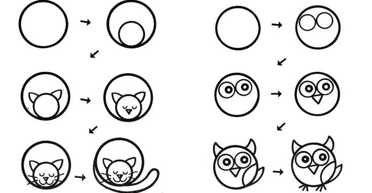 Учимся рисовать вместе с детьми! Простейшие рисунки животных из кругов! С этими схемами вы сможете очень легко нарисовать малышу коровку, собачку и даже сову и курочку! Смотрите, как все просто и легко! Стоит всего лишь нарисовать круг и далее следовать инструкциям!  А еще очень полезным для разви