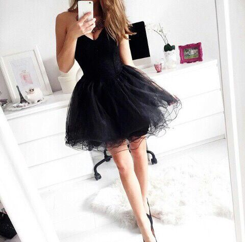 Custom Made Black Sweetheart Neck Short Prom Dresses, Short Black Homecoming Dresses #prom #dress #black #short #dresses #blackdress #shortdress #homecoming #cocktail