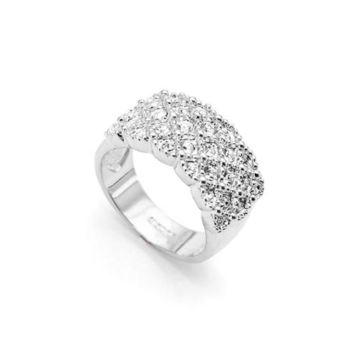 Fully Jewelled Silver Ring. 18K Platinum plated ring with clear swarovski crystals.