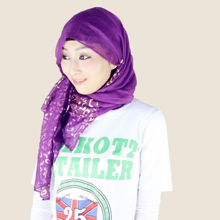 New Novelty Hot Women's Fashion Malaysia Muslim Hijab Gilt Monochrome Muslim Ladies Long Scarf Scarves Hijab Free Shipping