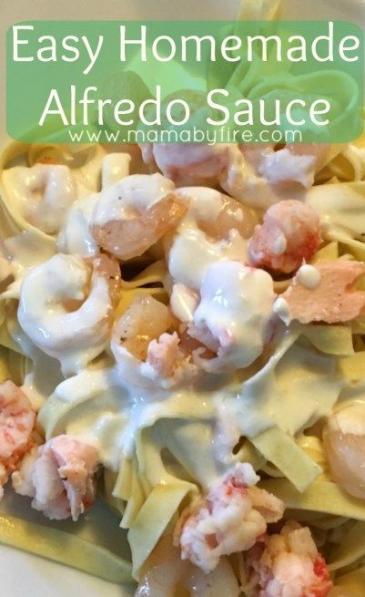 Try this super easy homemade Alfredo Sauce! It's so simple and delicious! http://www.mamabyfire.com/2016/02/23/easy-homemade-alfredo-sauce/