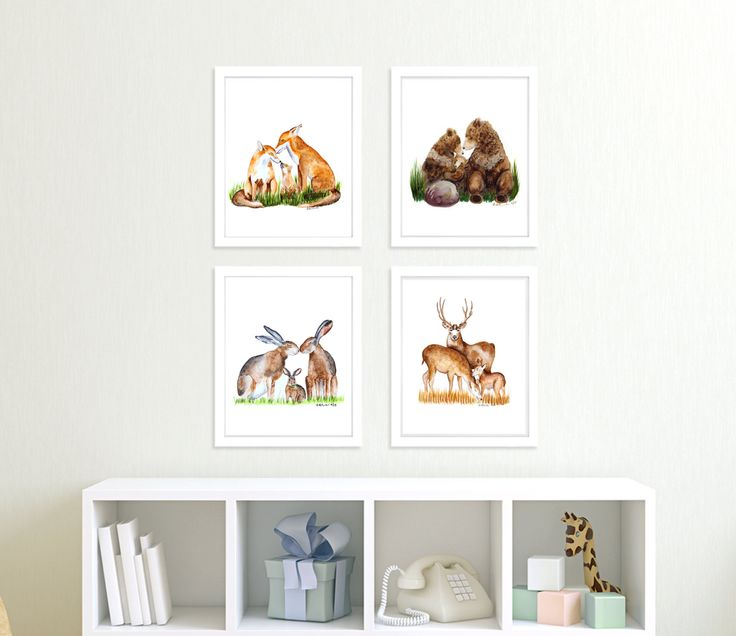 New to TinyToesDesign on Etsy: Woodland Art Set - Forest Animals - Set of 4 Prints - Rabbits - Deer - Fox Print - Bears - Woodland Nursery Art - Forest Baby Room Decor (54.00 USD) #nurseryart #tombowpro