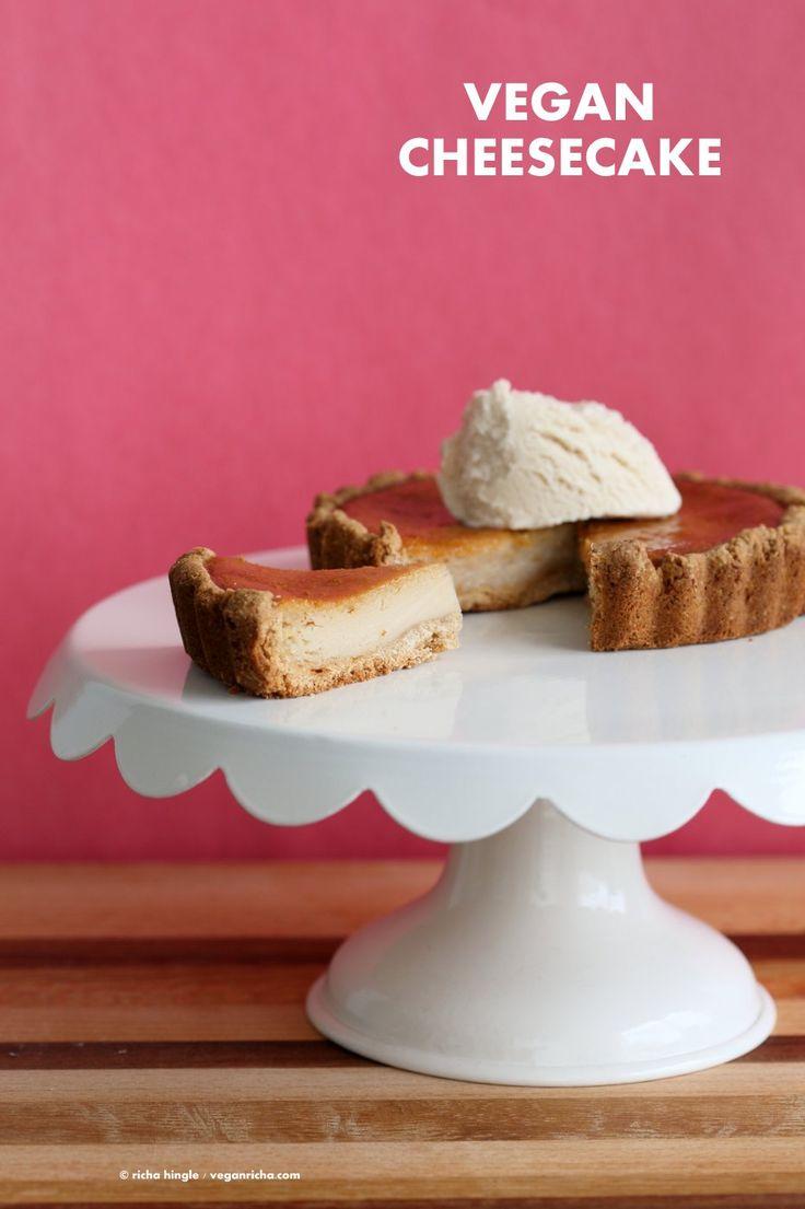 Easy Vegan Cheesecake. Baked Vegan Cheesecake Recipe with Cashews and non dairy yogurt. Soy-free Gluten-free Recipe. | VeganRicha.com