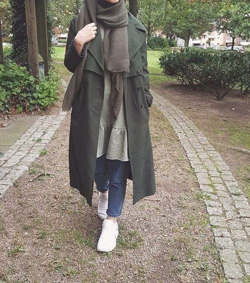 olive green coat hijab-Furry sleeves sweaters with hijab – Just Trendy Girls