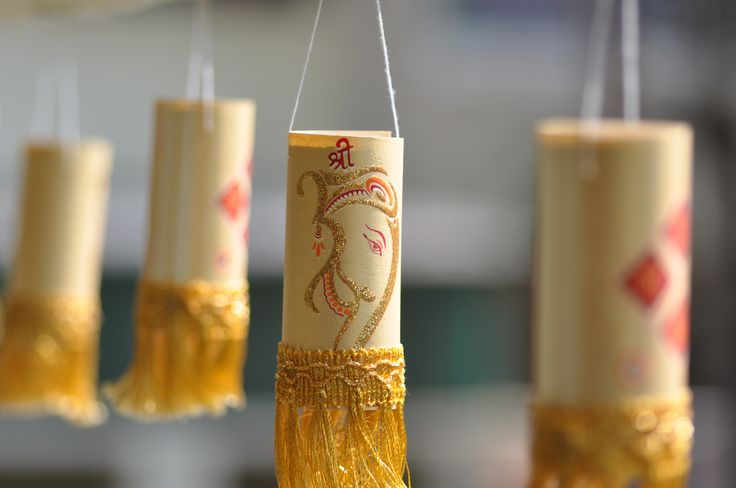 DIY Diwali Lantern made from TP Roll & Waste Wedding cards