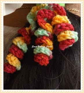 Sweet Nothings Crochet: SOME MORE FUN CURLY WURLIES SCRUNCHIES FOR HAIR