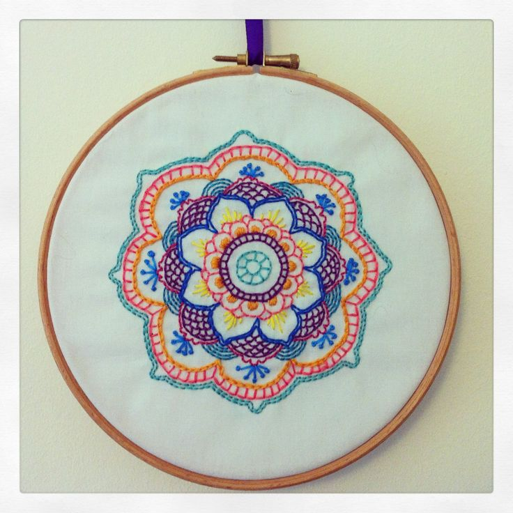 Colourful embroidery mandala hoop