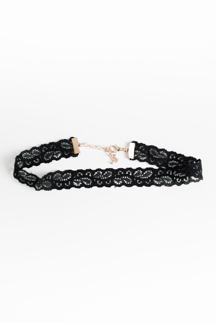 """Simple stretchy lace choker necklace. Total length approx 12.5"""" with extender and 2.4"""" thick. Lobster clasp closure."""
