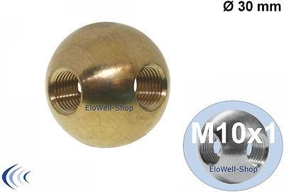 Messingkugel Ø 30 mm Kreuzgewinde M10x1 Messing Kugel unbehandelt zu Gewinderohr