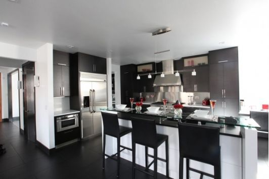Bachelor Pad Black and White Kitchen