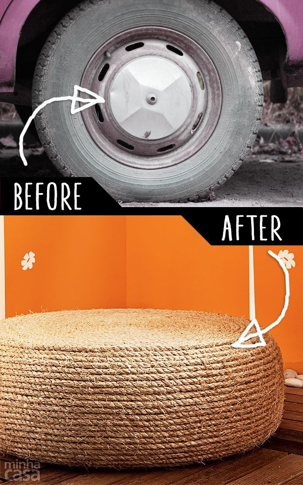 DIY Furnishings Hacks |  An Previous Tire Right Into A Rope Ottoman  | Cool Concepts For Creativ…