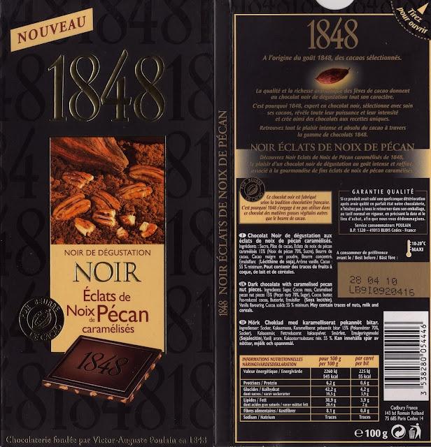 tablette de chocolat noir gourmand poulain 1848 noir eclats de noix de pécan caramélisés