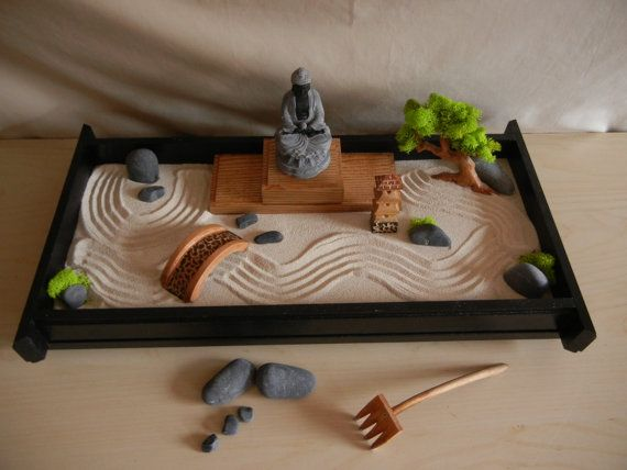 An actual Zen Garden is usually outdoors and takes much space. However; this Large Desk Top Zen Garden takes little room and was handcrafted to