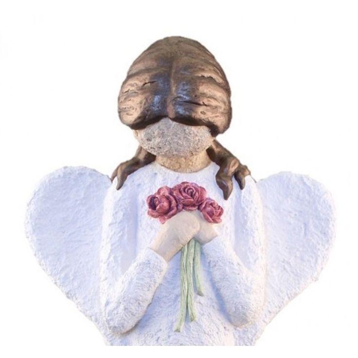 Engel, Figur, Med Blomsterbukett - Farge Hvit, Brunt Hår