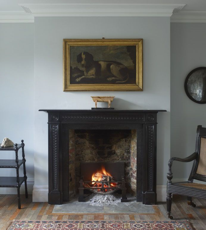 Furniture Astounding Antique Black Marble Fireplace Surround With Faux  Brick Fireplace Liner Under Dog Portraits Paintings On Antique Gold Picture  Frame ...