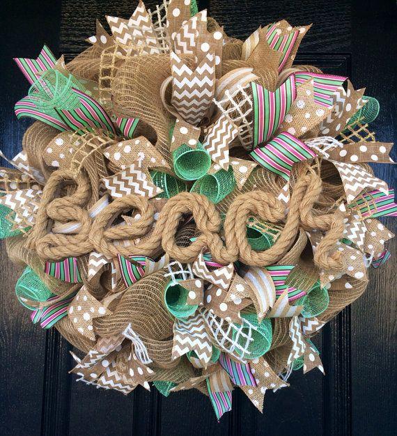 Burlap and Aqua Beach Wreath Beach Wreath by AllMeshedUp2014, $75.00