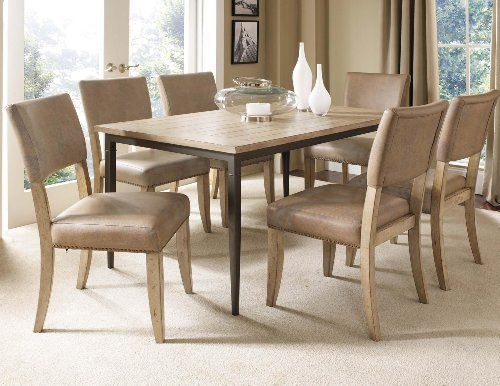 Charleston 7-piece Rectangle Dining Set With Parson Chairs by Hillsdale Furniture. $1199.00. Rectangle table features a wood top. Parson chair is traditionally designed. Assembly Required Some assembly required. Includes 6 chairs. Desert Tan wood finish. Hillsdale's Charleston collection beautifully combines a rustic Desert Tan wood finish with a dark grey metal and offers a multitude of choices to create the perfect dining group for your home. Starting with th...