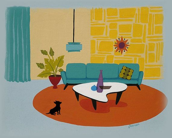 Mid Century Modern Style digital print from a painting by Linda Tillman. Available for purchase at LTillmanArt on Etsy. http://www.etsy.com/shop/LTillmanArt?ele=shop_open