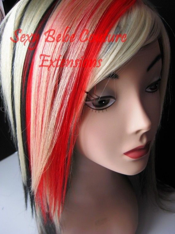 Red Black Blonde Hair Extension Set 6 Pieces By